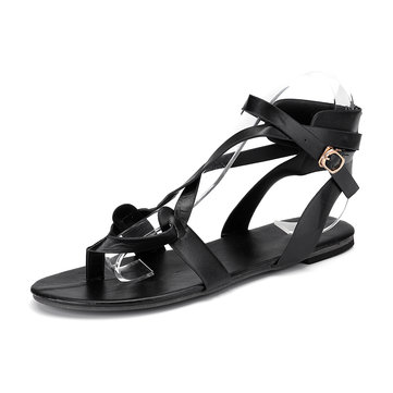 Roman Ankle Cross Strap Casual Clip Toe Sandals