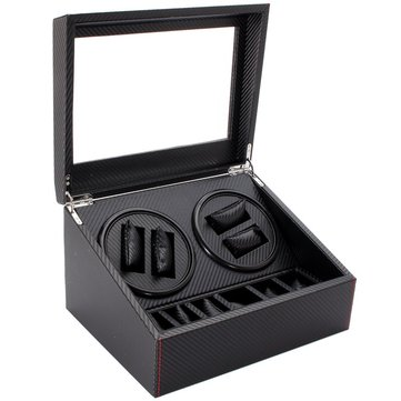 4+6 Automatic Motor Winder Carbon Fibre Watches Display Box