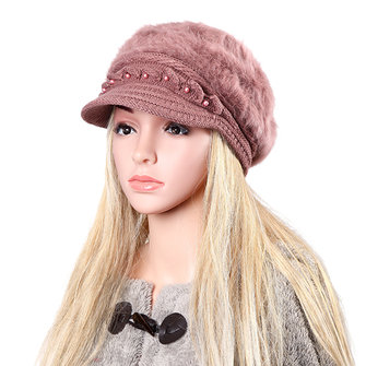 Women Ladies Fur Blend Beret Cap Wool Beads Winter Plush Lining Ear Warm Beanie Ski Hat
