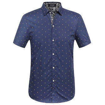 Mens Printing Slim Business Short Sleeve Designer Shirts