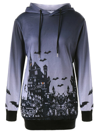 Halloween Printed Long Sleeve Drawstring Hooded Sweatshirt