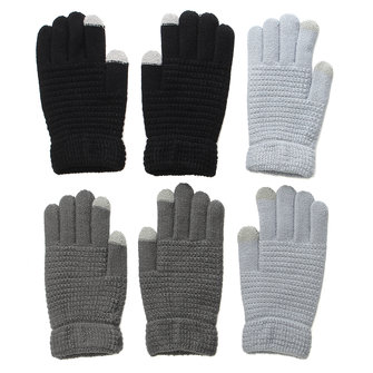Mens Unisex Knitted Touch Screen Gloves Cashmere Solid Outdoor Ski Warm Gloves