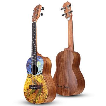 Original Tom VGW-C2 Van Gogh Series 23 Inch Ukelele Acacia Wood con Gig Bolsa