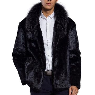 Mens Winter Thick Warm Faux Fur Coat Outerwear Jacket