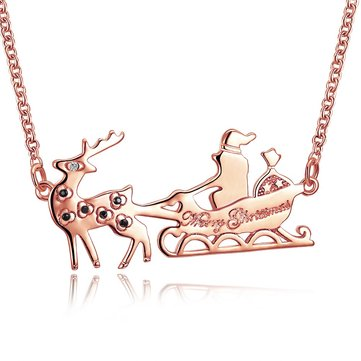 INALIS Women's Sweet Christmas Gift Santa in Sleigh Reindeer Zircon Necklace