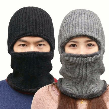 Buy Knitted Hat Scarf Cap Neck Warmer Winter Siamese Hood Hats For Men Women Skullies Beanies Fleece for $9.99 in Banggood store