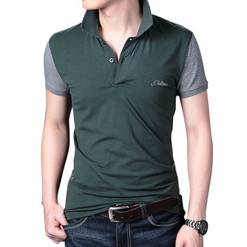 Mens Slim Fit Stand Collar Short Sleeve Tops Summer Button Fashion Casual Cotton Golf Shirt
