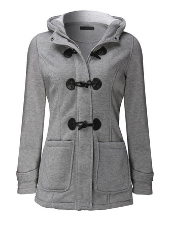 Casual Women Long Sleeve Solid Color Hooded Horn Buttons Coat