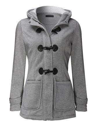 Casual Women Long Sleeve Solid Color Hooded Hoorn Knopen Coat