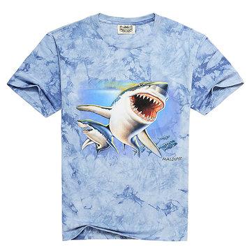 Fashion Men's 3D Shark Printing Casual Tees zomer korte mouw T-shirt