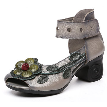 SOCOFY Women Sandals Retro Handmade Shoes