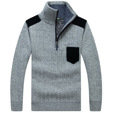 Mens Wool Fashion Casual Pullover High Collar Half Zipper Chest Pocket Sweaters