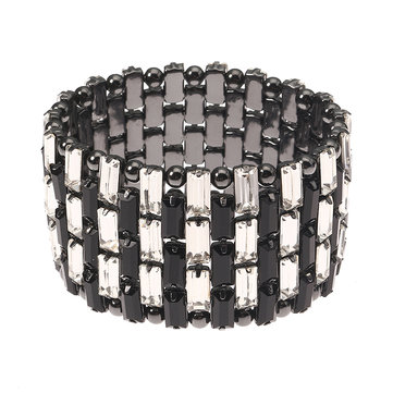 JASSY® Punk Gun Black Plated Bracelet Shiny White Crystal Anallergic Stretch Women Jewelry