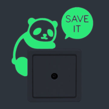 Panda Creative Luminous Switch Sticker Removable Glow In The Dark Wall Decal Home Decor