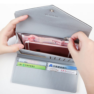 Women Envelope Long Wallet 3 Folded Hasp Purse Card Holder Coin Bags 5.5'' Phone Bags For Iphone 7P