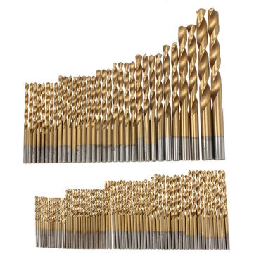 100pcs 1.5mm - 10mm Titanium Coated Drill Bit Set High Speed Steel Manual Twist Drill Bits