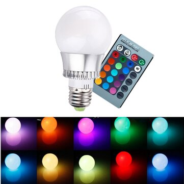 RGB E27 5W LED Bulb Color-Changing Globe Light Lamp + Remote Control AC 85-265V