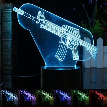 3D Illuminated Illusion Color Changing Gun LED Desk Night Light Lamp Xmas Gift