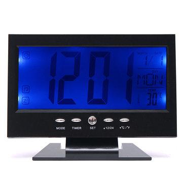 LCD Horloge de table numérique + Alarme de température calendaire Capteur de son Lumière en haut Noir