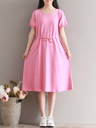 Women Casual Pure Color Short Sleeve O-Neck Dress