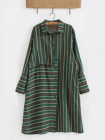 Casual Women Striped Lapel Full Sleeve Mid-Long Irregular Shirts
