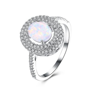 INALIS Opal Stone Platinum Plated Women Rings Zircon
