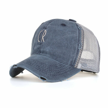 Men Women Cotton Washed Mesh Breathable Baseball Cap