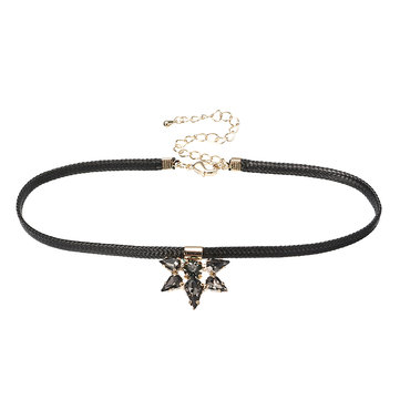 JASSY® 9K Gold Plated Black Rhinestone Crystal Choker Lolita Fine Necklace for Women