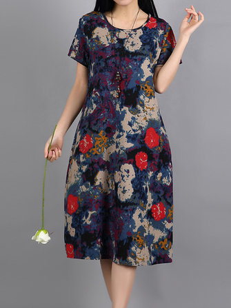 Vintage Short Sleeve Loose Print O-neck Women Dresses