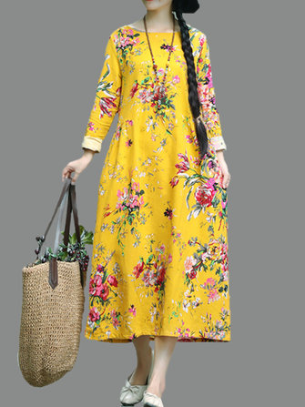 Retro Women Folk Style Floral Print Long Sleeve O-Neck Dress