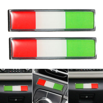 Pair Aluminum Italy Flag Badge Car Sticker Emblem Decal Decoration