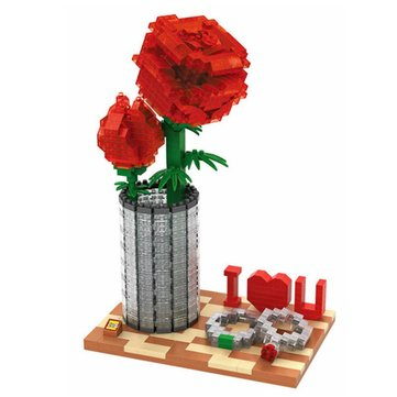 LOZ Diamond Blocks Bricks Toys Building Assembly Toy Crystal Rose Valentine's Day Gifts DIY 9022