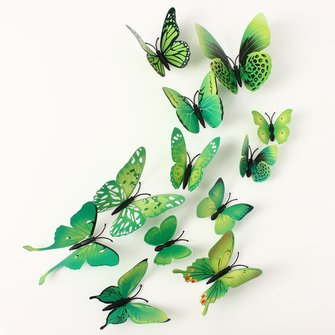 12Pcs 3D Green Butterfly Wall Stickers Art Decals Home Wedding Party Decoration
