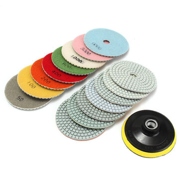 16pcs 4 Inch 50 to 10000 Grit Diamond Polishing Pads for Granite Stone Concrete Marble