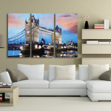 Nightfall London Bridge Decorative Canvas Painting Frameless Wall Art Home Decoration Square