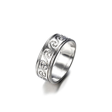 Vinatge Finger Ring Antique Silver Simple Engraved Pattern Wave Rings Ethnic Jewelry for Women Men