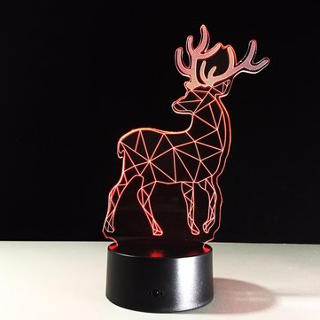 Creative Christmas Elk USB 3D LED Lights Colorful Touch Night Light Gift