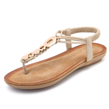 Bohemian T Strap Casual Flat Beach Sandals