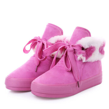 Winter Keep Warm Short Boots Fur Lining Cotton Lace Up Shoes