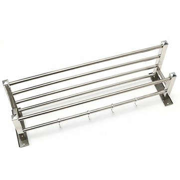 55X20.5x16cm Wall Mounted Towel Holder Rack Stainless Steel Rail Storage Shelf