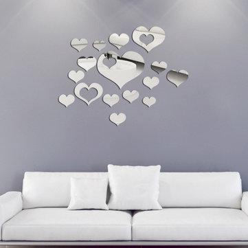 Honana DX-Y2 16Pcs Cute Silver DIY Heart Mirror Wall Stickers Home Wall Bedroom Office Decor
