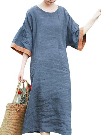 Casual Women Loose Cotton Bat Sleeve Dress