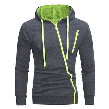 Men's Fashion Diagonal Zipper Hoodies Drawstring Casual Solid Color Slim Fit Sweatshirt Jacket