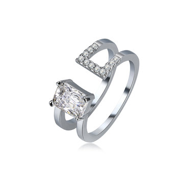Luxury Double Layer Adjustable Open End Ring Platinum Plated Shiny Zircon Ring for Women