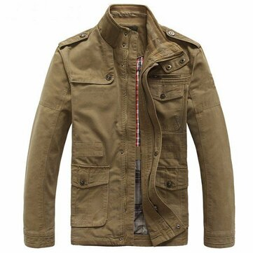 Big Size Men Outdoor Autumn Cotton Blend Zipper Cargo Coat Jacket Outwear S-5XL
