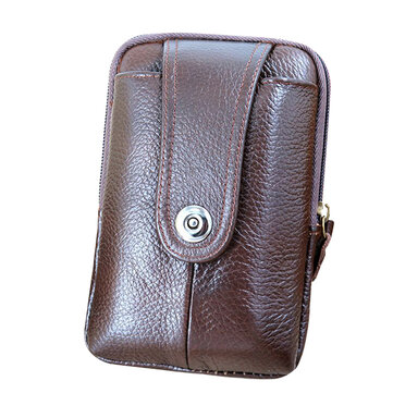 5.5inch Cell Phone Men Genuine Leather Retro Waist Bag Casual Vertical Belt Bag Card Holder