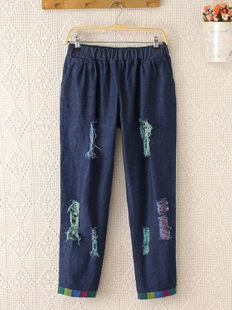 Casual Women Loose Slim Hole Elastic Waist Pockets Cropped Jeans