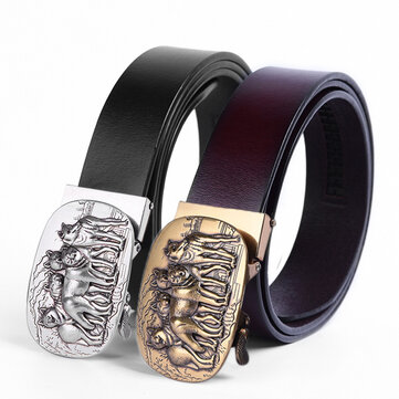 Mens Business Two-Layer Leather Embossed Waist Belts