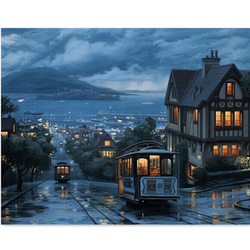 Night Train Digital Oil Painting DIY Oil Painting By Numbers Kits Frameless Canvas Home Wall Decor 40x50cm