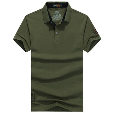 Summer Mens Solid Color Turn-down Collar Golf Shirt Breathable Cotton Short Sleeve Casual Tops